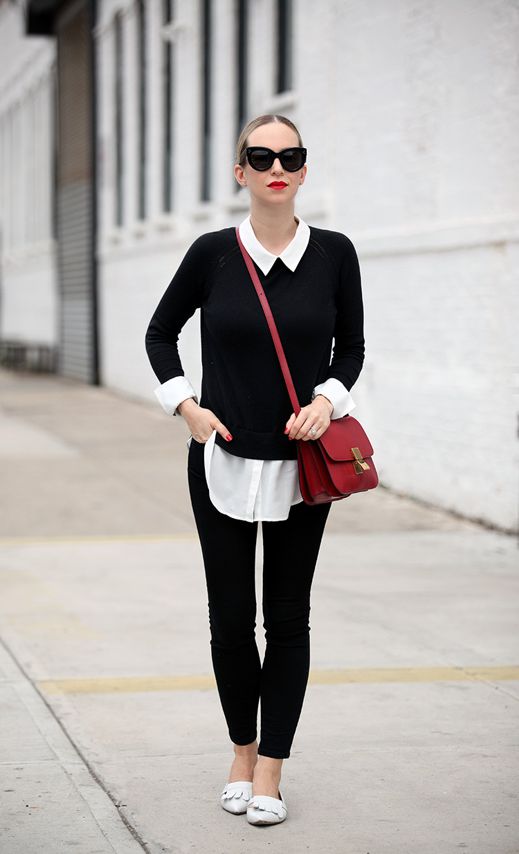 Black and white with a pop of red outfit inspiration - Brooklyn Blonde