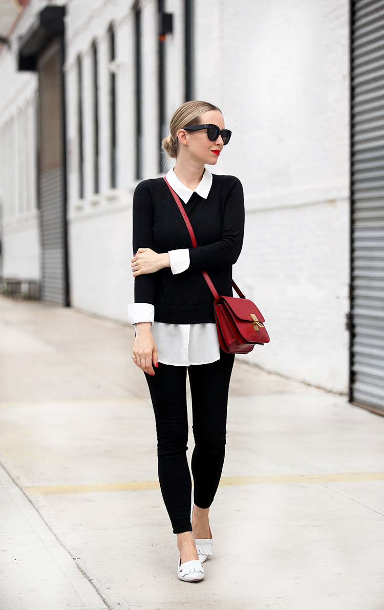 black white and red outfit inspiration
