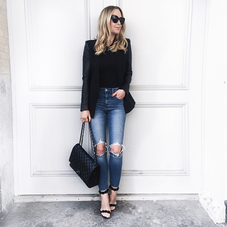 Distressed 721 Levi's, Helmut Lang leather sleeved blazer, Alaia Shoes