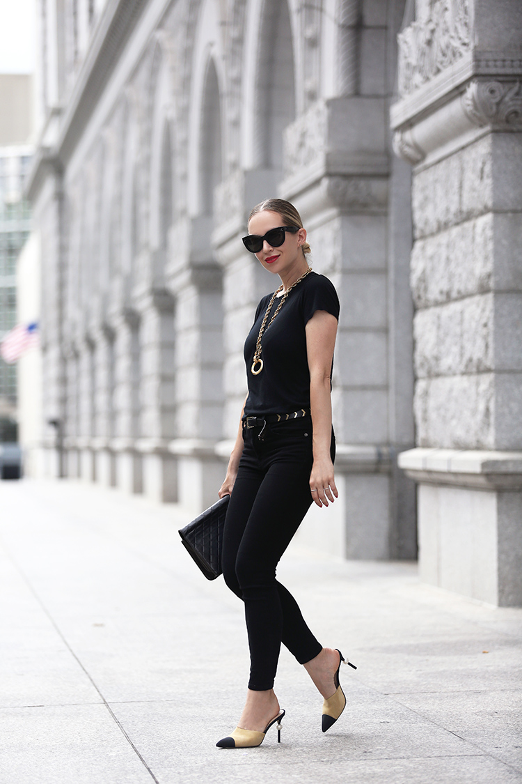 all black outfit with Chanel two tone mules - Helena of Brooklyn Blonde