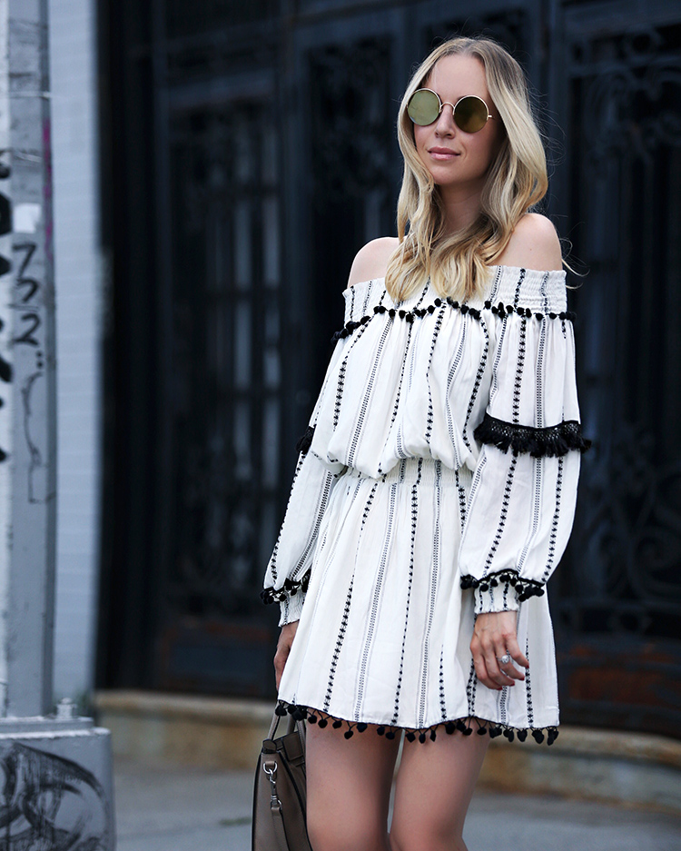 off the shoulder dress and sunday somewhere sunglasses