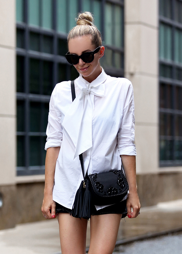 Frame Le Bowtie Shirt and Kate Spade Lietta Bag - Helena of Brooklyn Blonde