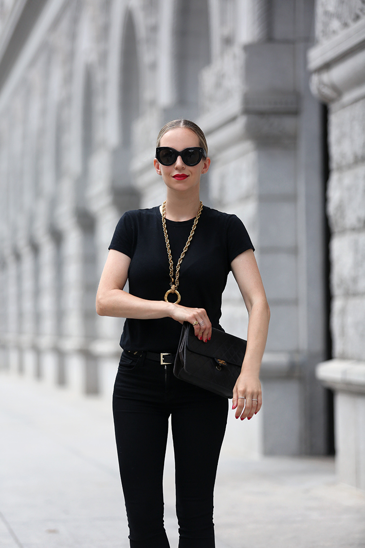 Celine Caty Sunglasses and vintage Chanel necklace - Helena of Brooklyn Blonde