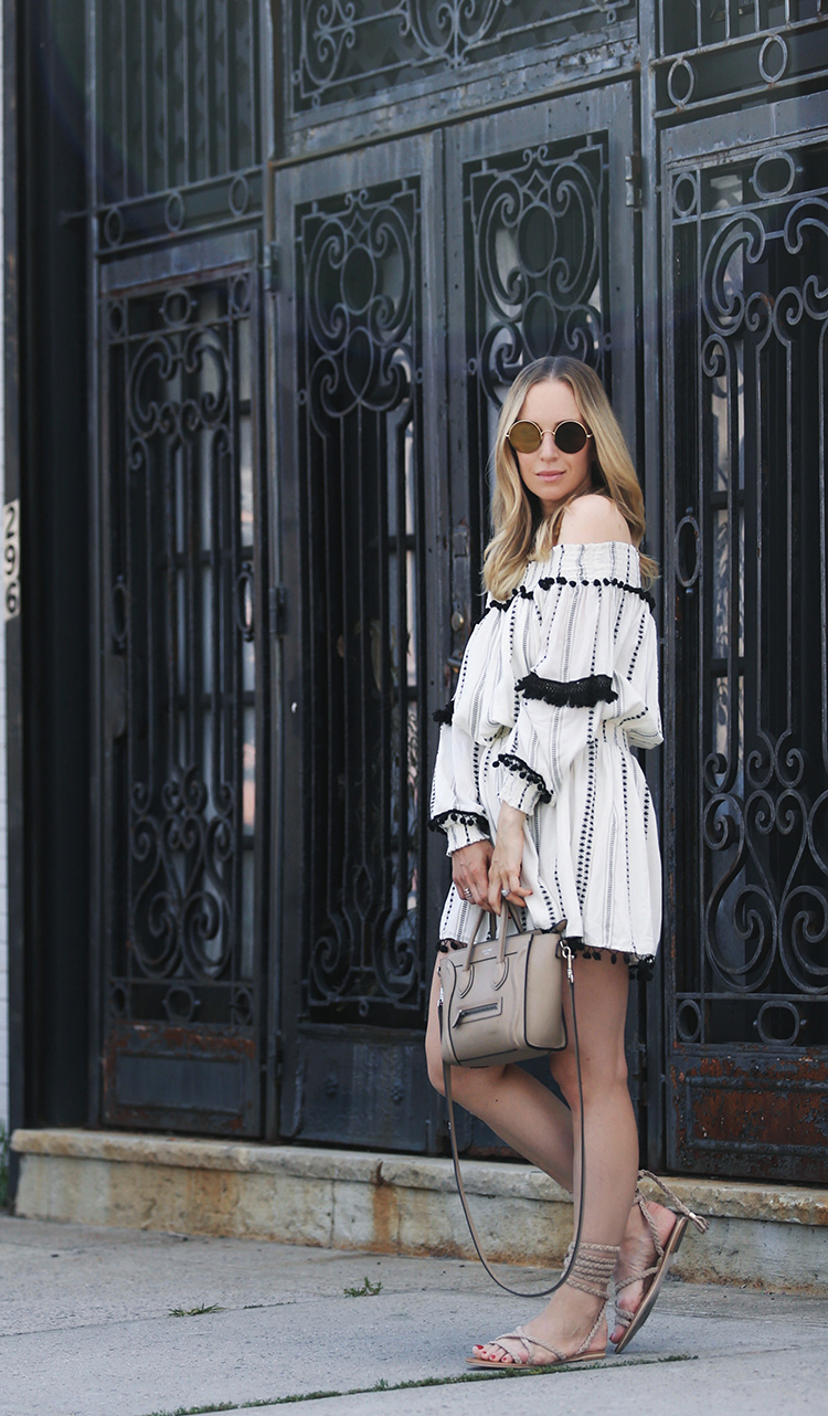 Summer style inspiration in a TULAROSA off the shoulder dress, Sunday Somewhere sunglasses, gladiator sandals and a Celine nano.
