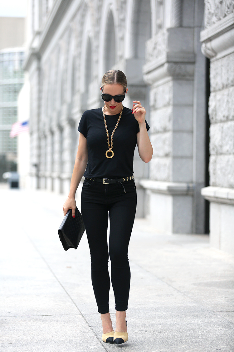 all black outfit with vintage Chanel necklace - Helena of Brooklyn Blonde