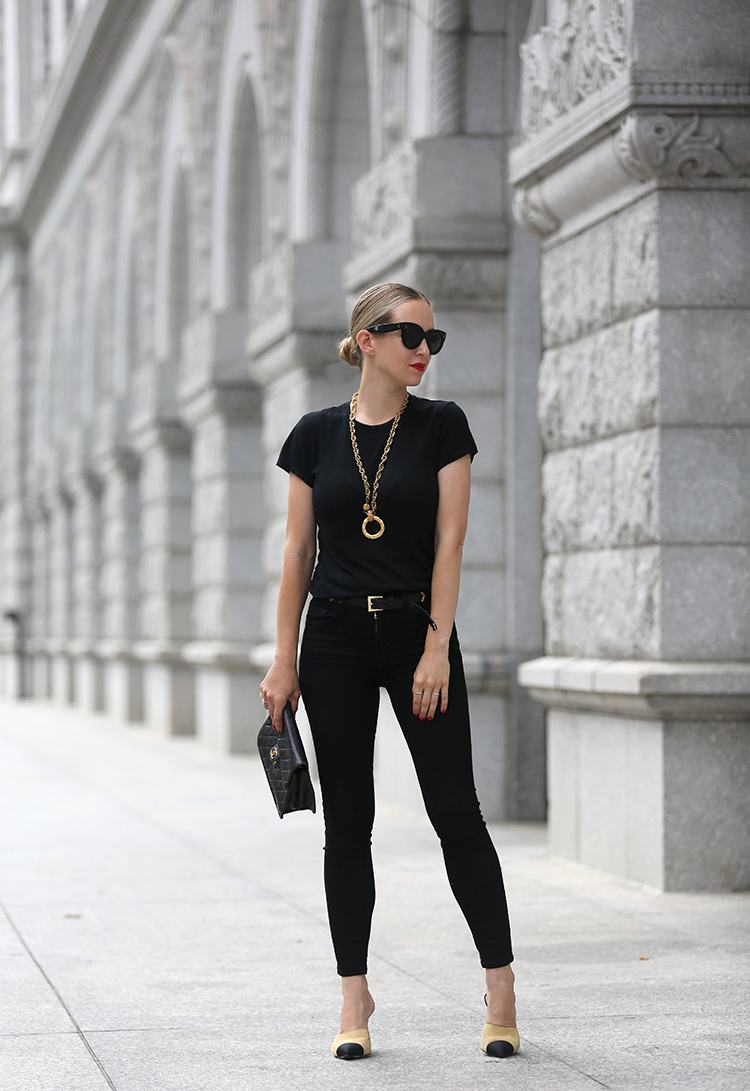 All Black with Gold Details and Chanel Two Tone Mules - Helena of Brooklyn Blonde