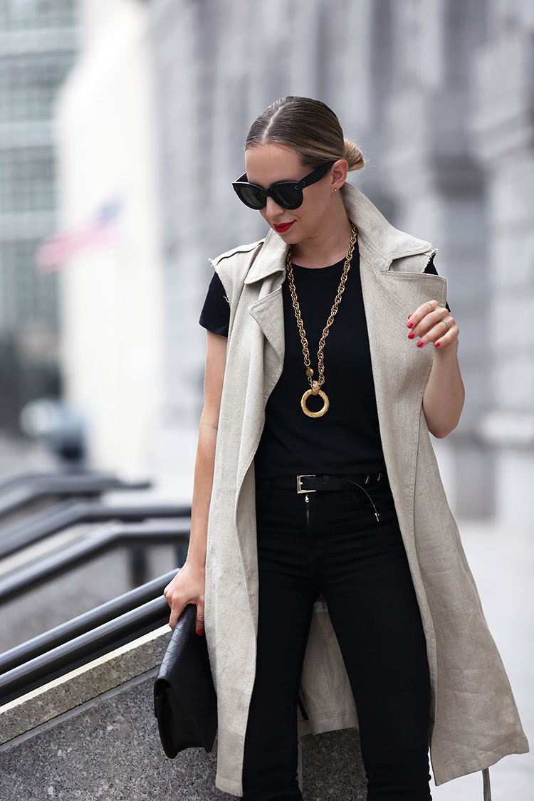 Sleeveless Theory trench and two tone Chanel mules and Vintage Chanel Necklace - Helena of Brooklyn Blonde
