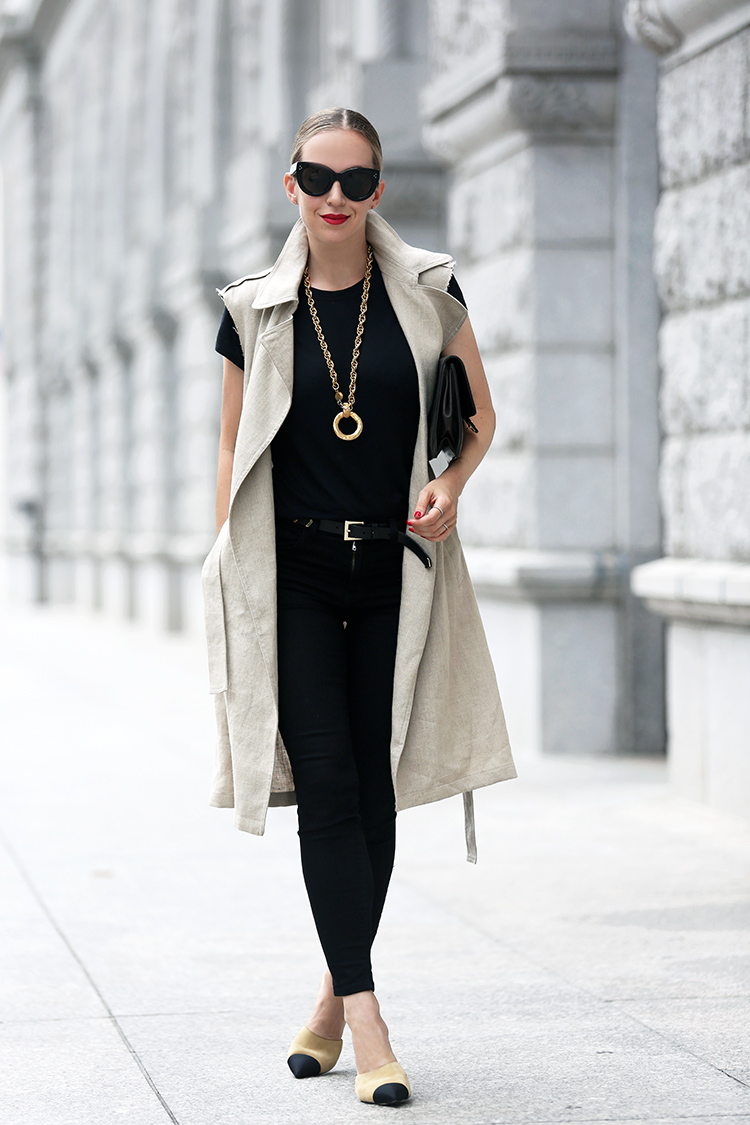 Sleeveless Theory trench and two tone Chanel mules - Helena of Brooklyn Blonde