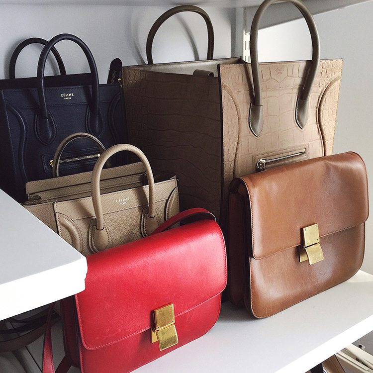 Designer Handbags - Celine Handbags Collection - Helena of Brooklyn Blonde. Celine Nano, Celine Phantom and Celine Box Bag.