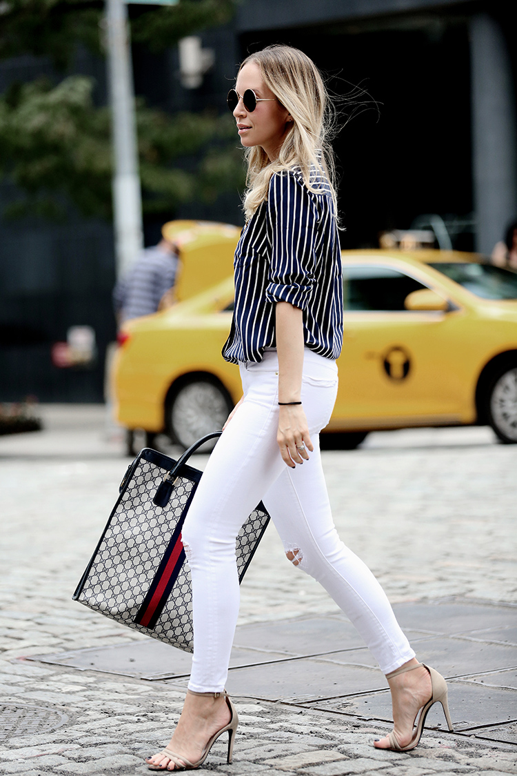 How to style white denim: J Crew X NETAPORTER, Vintage Gucci Tote and White Denim | Helena of Brooklyn Blonde