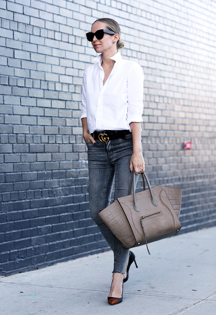 5afcfcc15883 Classic White Button Down, Gucci Belt and Celine Phantom Bag | Helena of  Brooklyn Blonde