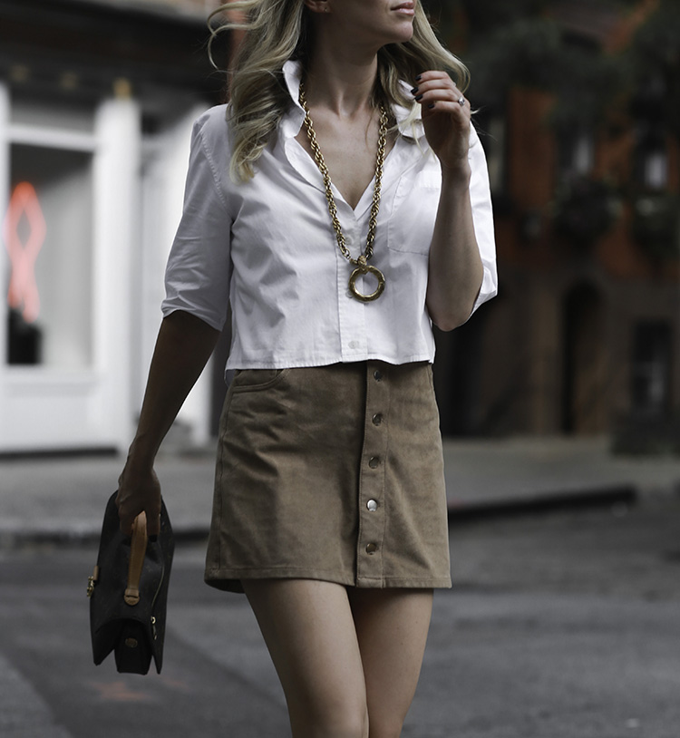 Vintage Chanel Necklace and Suede Skirt | Helena of Brooklyn Blonde