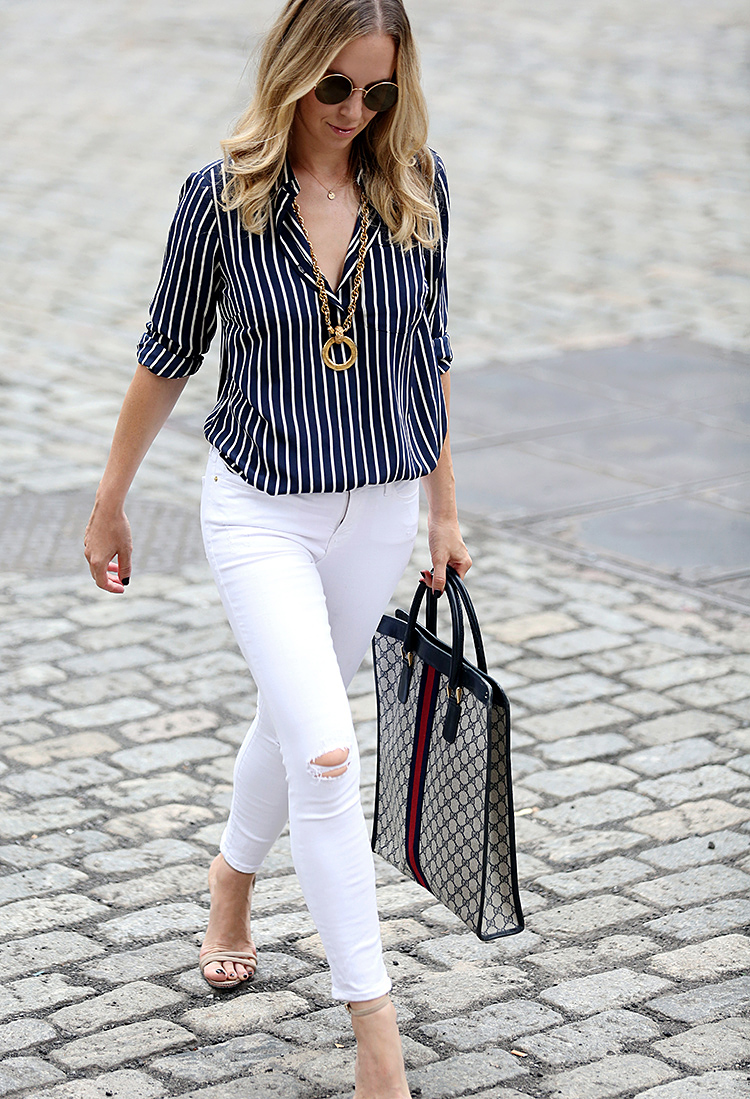 Transitioning White Denim | Wearing: Frame Jeans, J CREW X NETAPORTER Silk Button Down, Vintage Gucci Tote.