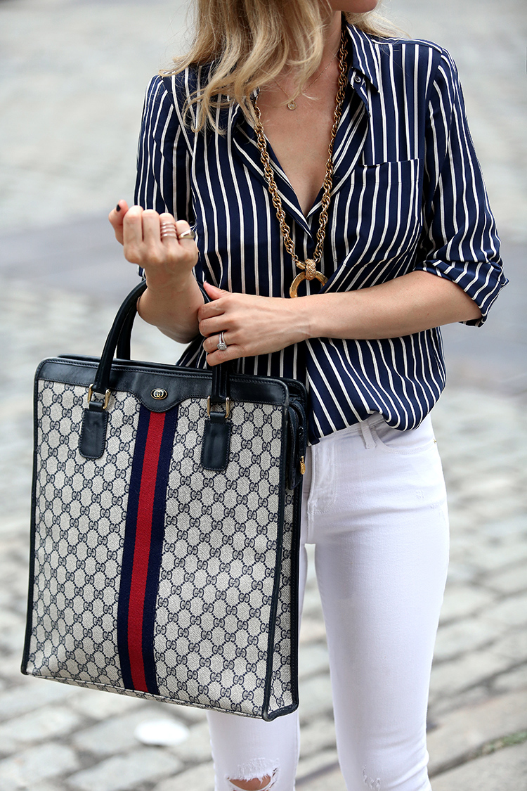 How to style white denim: Vintage Gucci Tote & Vintage Chanel Necklace