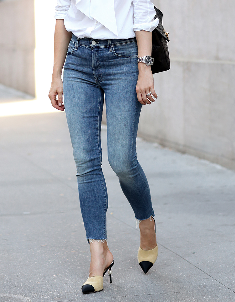 Mother Stunner Zip Ankle Jeans and Chanel Mules