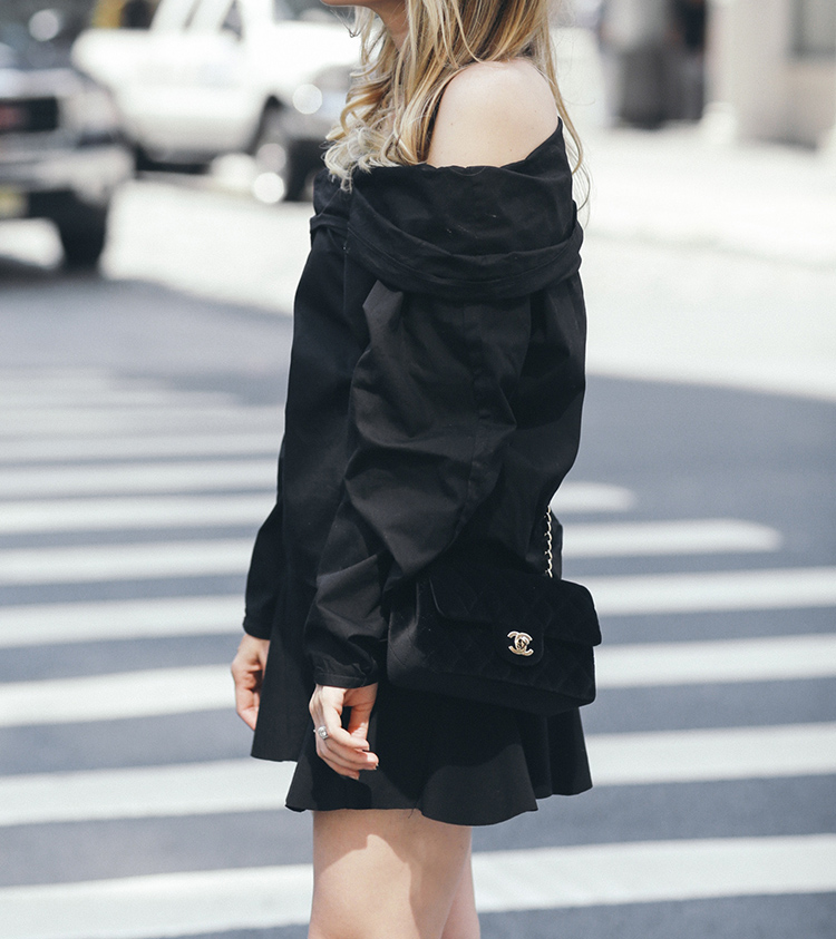 MLM Label Top and Chanel Classic Velvet Bag | Helena of Brooklyn Blonde