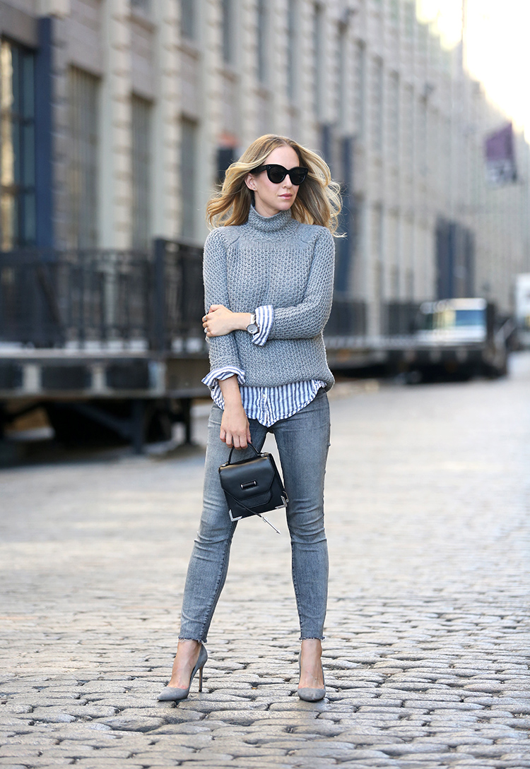 Grey Monochromatic | Mother Denim & Manolo Blahnik Shoes