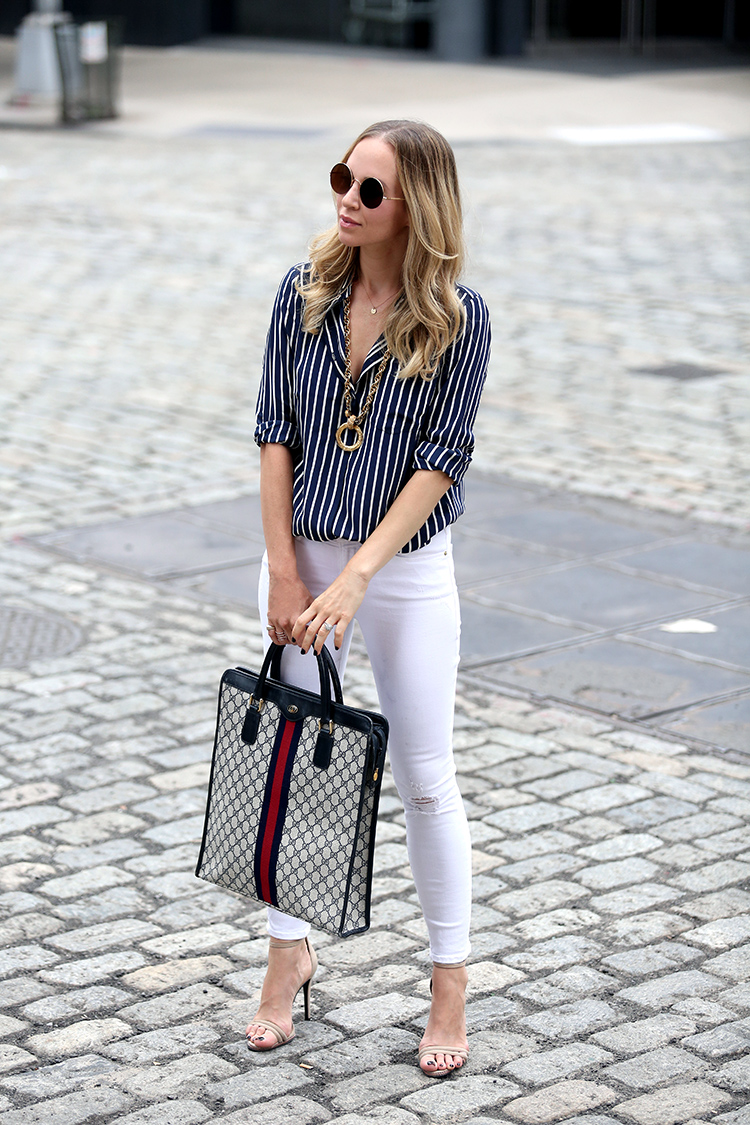 How to style white denim - J Crew x NETAPORTER, Frame White Denim & Vintage Gucci Tote