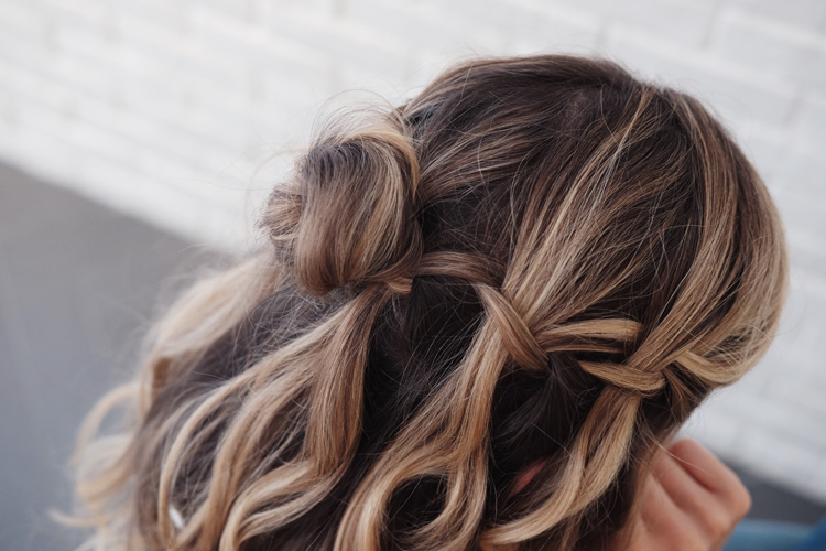 Nexxus New York Salon half bun waterfall braid hairstyle