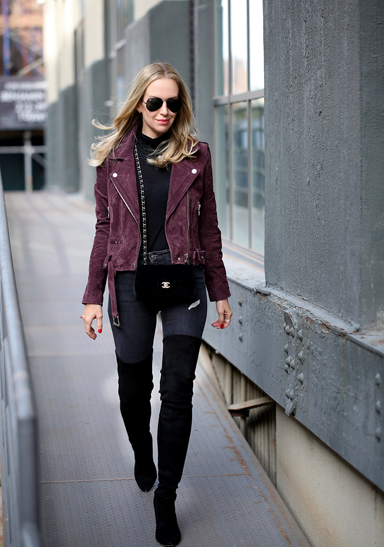 Burgundy Suede Moto Jacket, Over the Knee Boots and Velvet Chanel | Helena Glazer