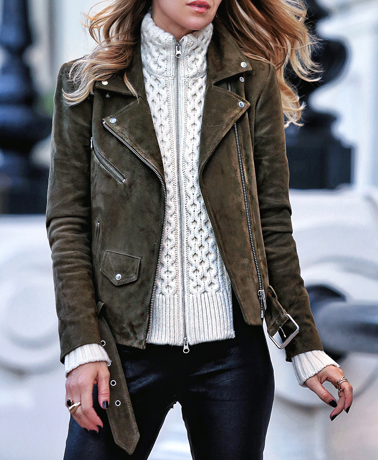 Veda Suede Jayne Jacket and Veronica Beard Dickey | Fall layers from Helena of Brooklyn Blonde