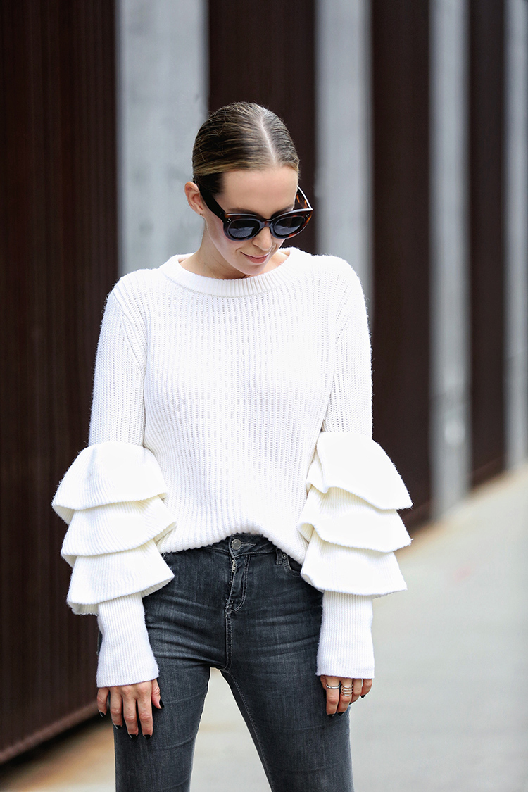 Club Monaco Asal Ruffled Sleeve Sweater | Helena from Brooklyn Blonde
