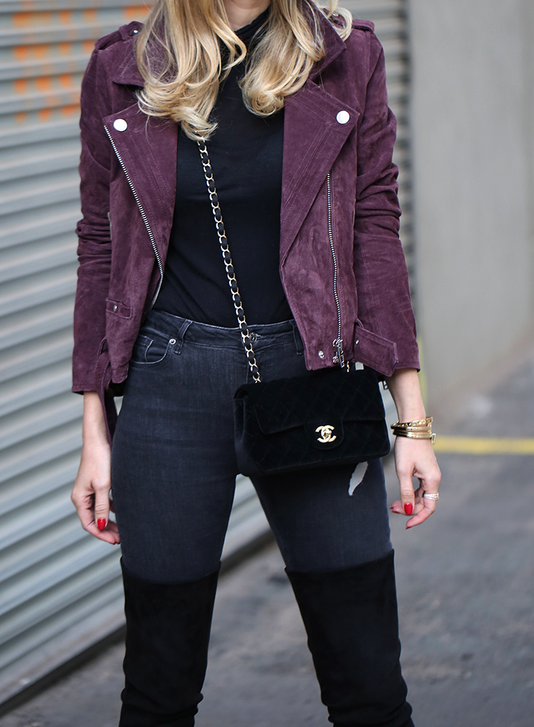Burgundy Suede Moto Jacket and Velvet Chanel Bag | Helena of Brooklyn Blonde