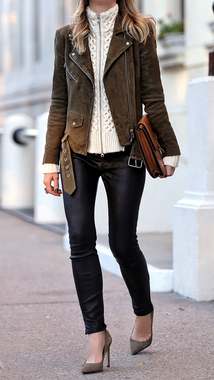 Veda Suede Jayne Jacket, Veronica Beard Wool Dickey, J Brand Leather Pants and Sam Edelman Pumps | Brooklyn Blonde