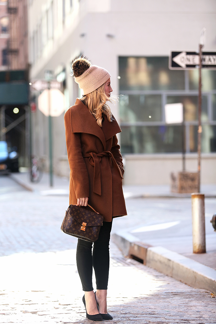 Winter Style Wrap Coat - Helena of Brooklyn Blonde wearing Tahari Wrap Coat and Bettina Pom Pom Beanie