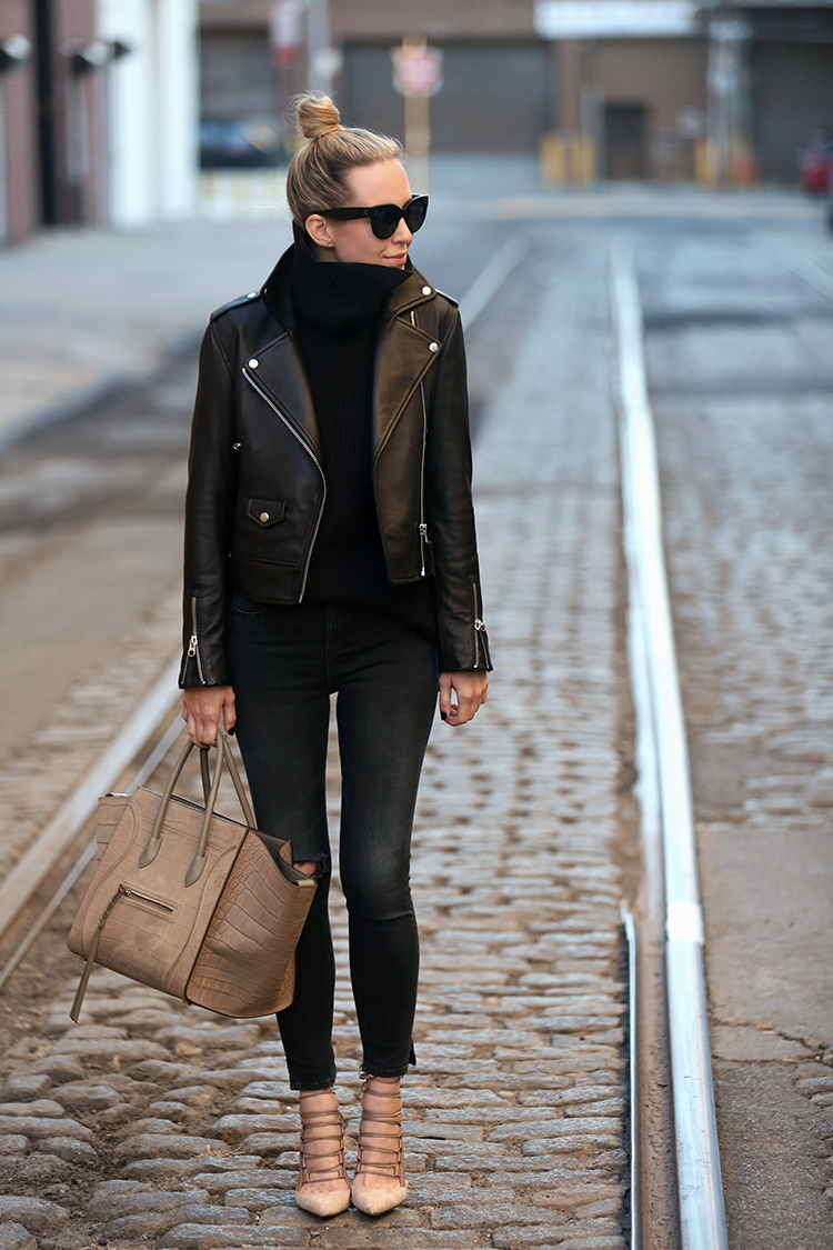 Fall Outfit Inspiration, Leather Jacket, Helena of Brooklyn Blonde