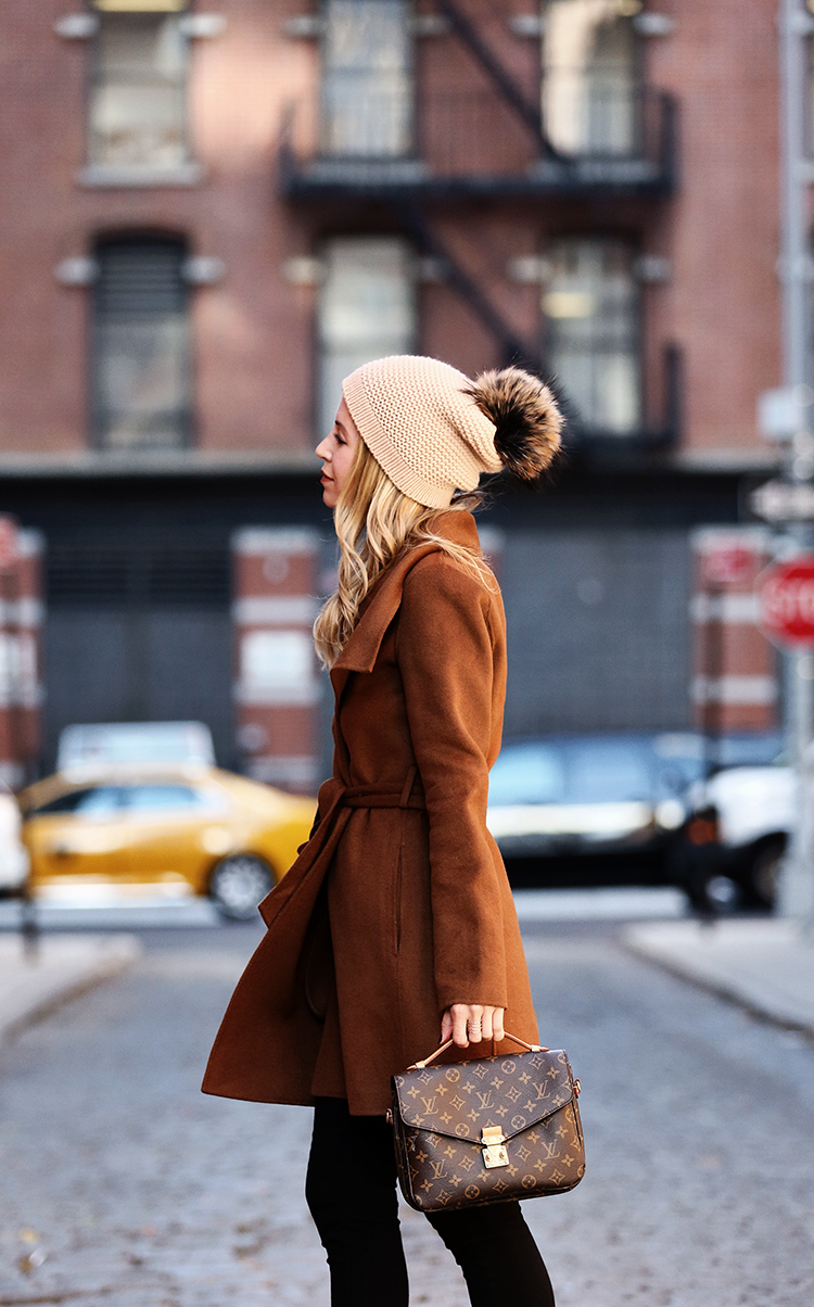 How to Style a Wrap Coat for Winter - Helena of Brooklyn Blonde wearing Tahari Wrap Coat and Bettina Pom Pom Beanie