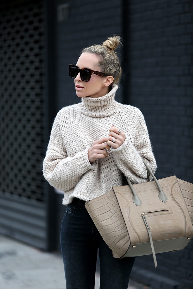 Fall Outfit Inspiration, Chunky Knit Turtleneck Sweater, Helena of Brooklyn Blonde