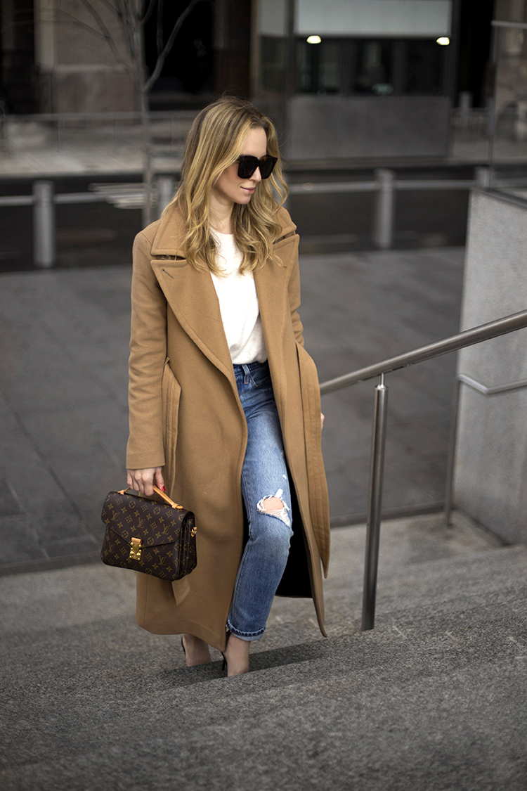 Camel Coat, Chanel Mules, Louis Vuitton Pochette Metis | Helena of Brooklyn Blonde