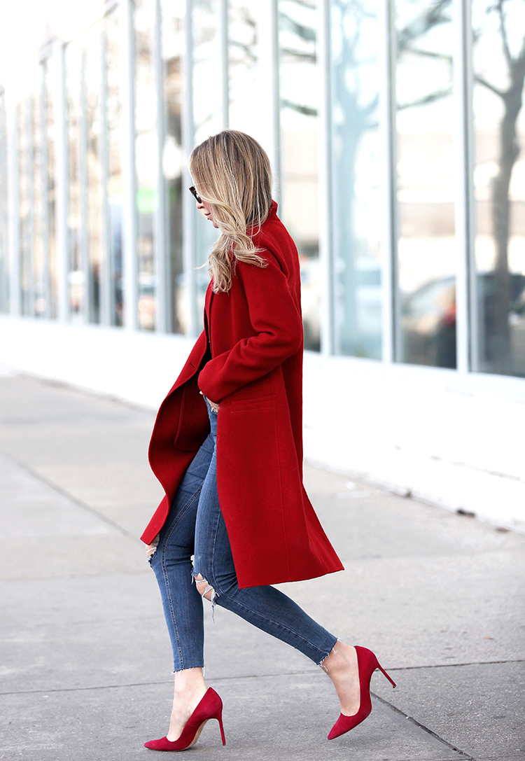 Bold Red Coat and Red Pumps