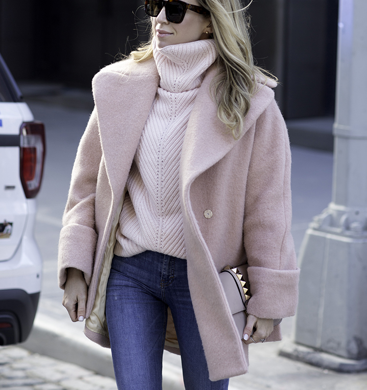 Stylish outfits for moms | Stylish outfits for new moms | Casual Style | Pink Carven Coat, Sezane Sneakers | Helena of Brooklyn Blonde