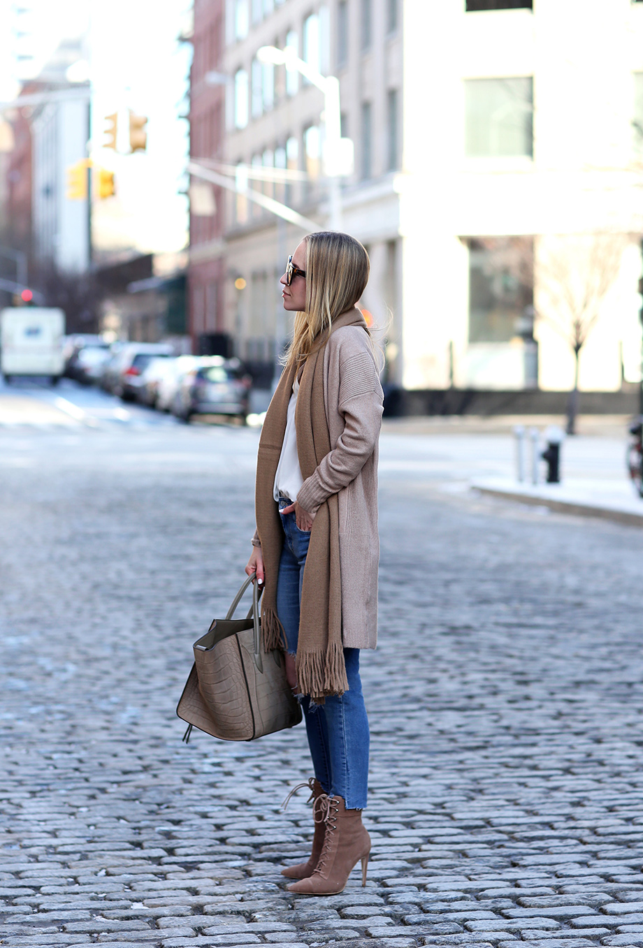 Camel Scarf, Celine Phantom Bag, Neutral Outfit | Closet Essentials: Camel Scarves