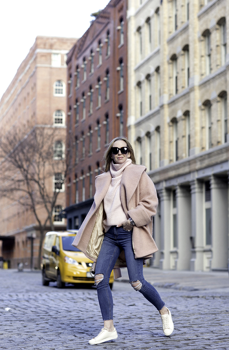 Stylish outfits for moms | Casual Style | Pink Carven Coat, Sezane Sneakers | Helena of Brooklyn Blonde