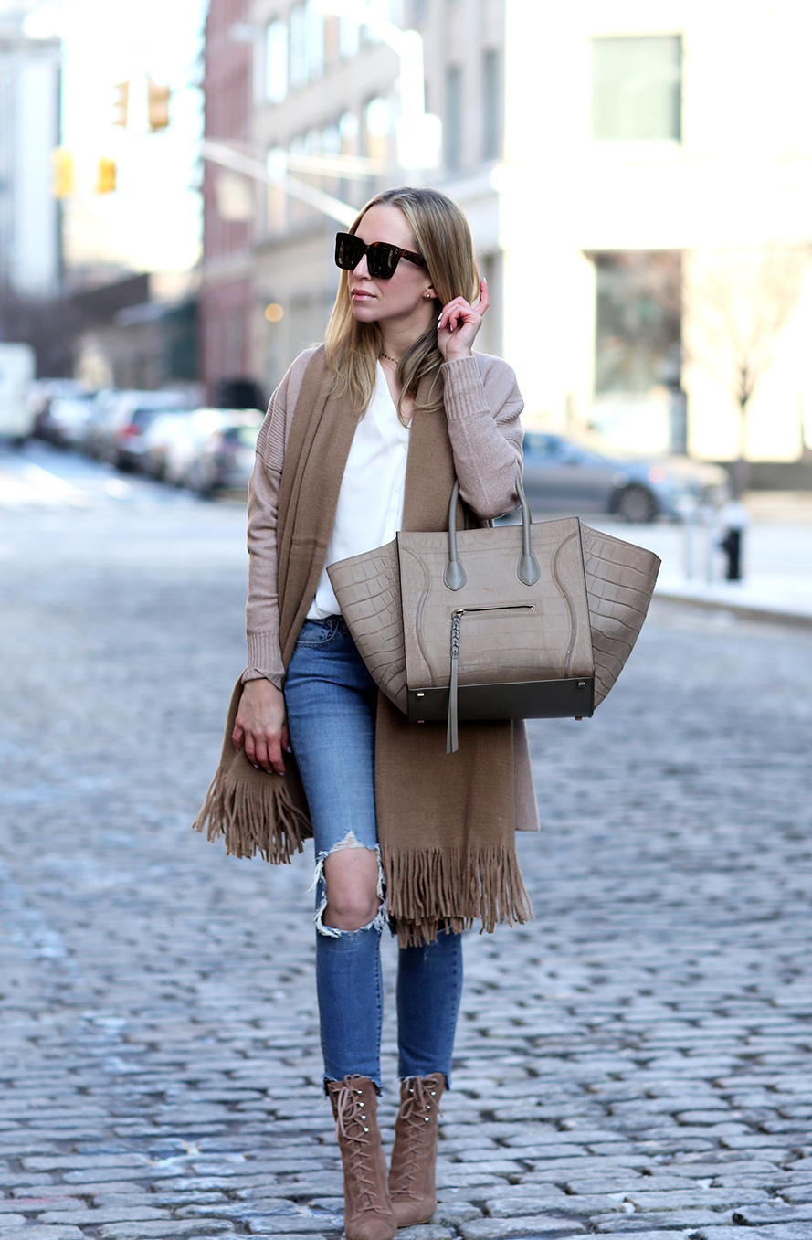 Camel Scarf, Celine Phantom Bag, Neutrals  | Closet Essentials: Camel Scarves