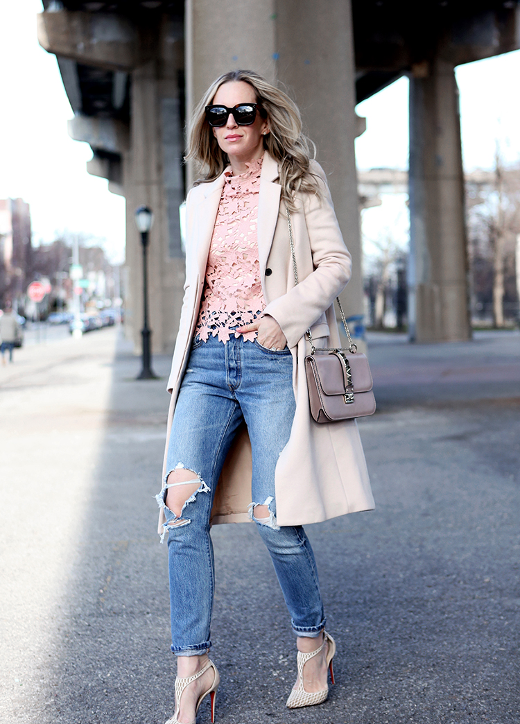 Blush Pink Outfit Inspo | Self Portrait Top, Valentino Rock Stud Bag and Levis High Waisted Denim