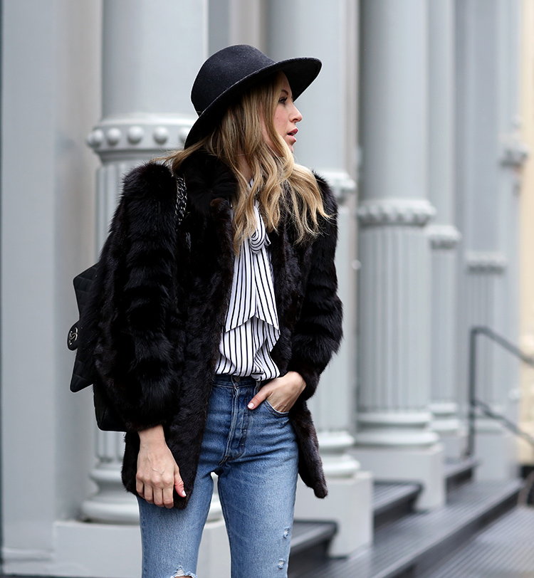 Winter Style | Faux Fur, Frame Bow Blouse and Rag & Bone Hat
