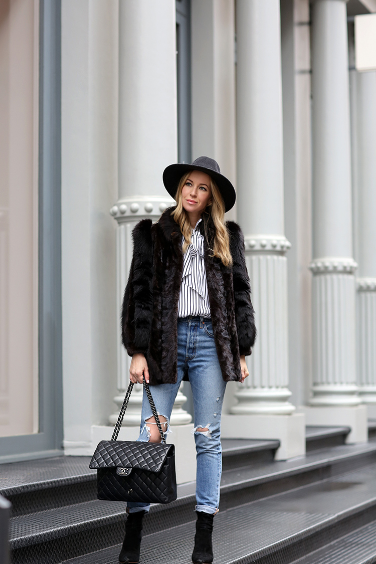 The Most Comfortable Boots I Own | Winter Style | Faux Fur, Distressed Denim, Loeffler Randall Isla Boots and Chanel Maxi Caviar Bag