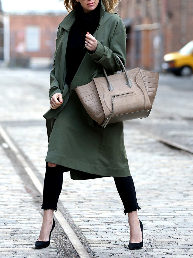 Marissa Webb Olive Trench Overcoat and Celine Phantom Bag
