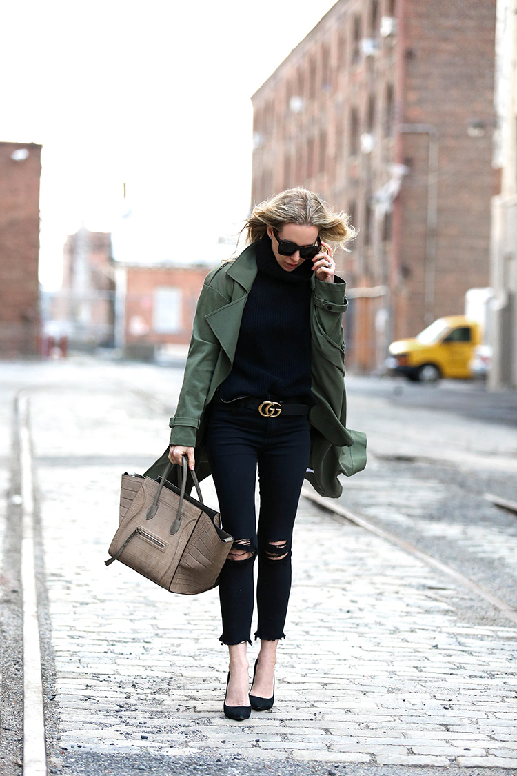 Marissa Webb Olive Trench Overcoat, Gucci Belt and Celine Phantom Bag