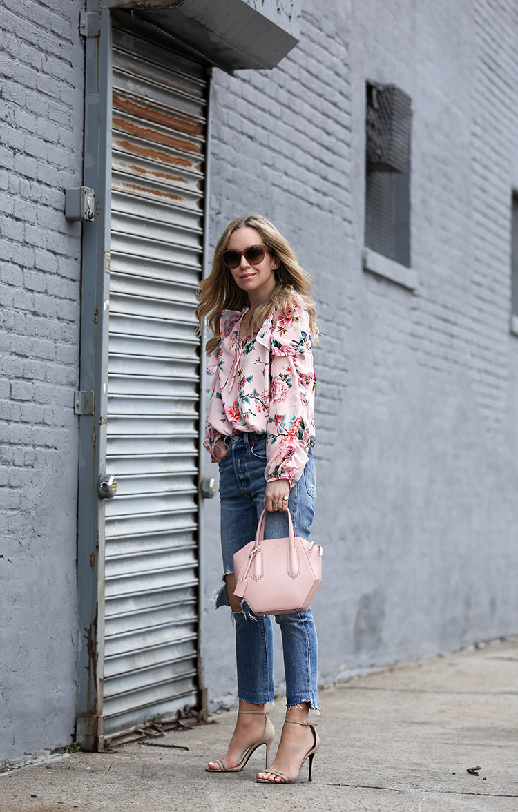 Spring Tops for Under $100 - Brooklyn Blonde - Helena Glazer wearing ASOS Floral Top, Schutz sandals, Celine sunglasses