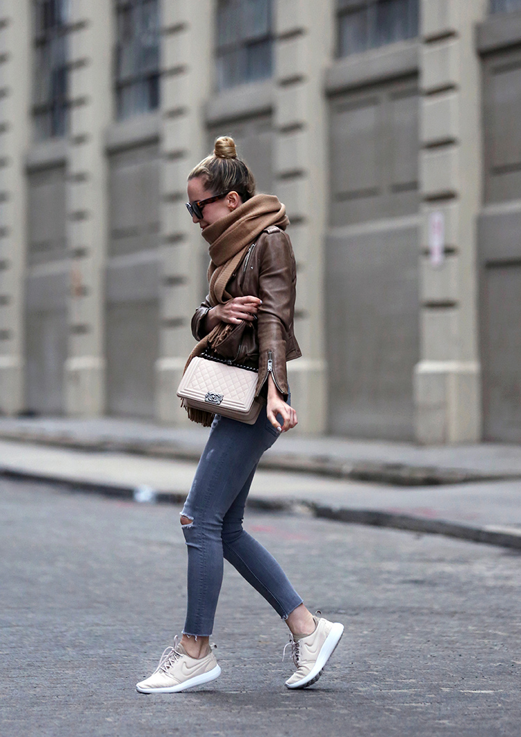 Motherhood Update - Mom Style - All Saints Leather Jacket, Camel Scarf, Topshop Denim, Celine Sunglasses