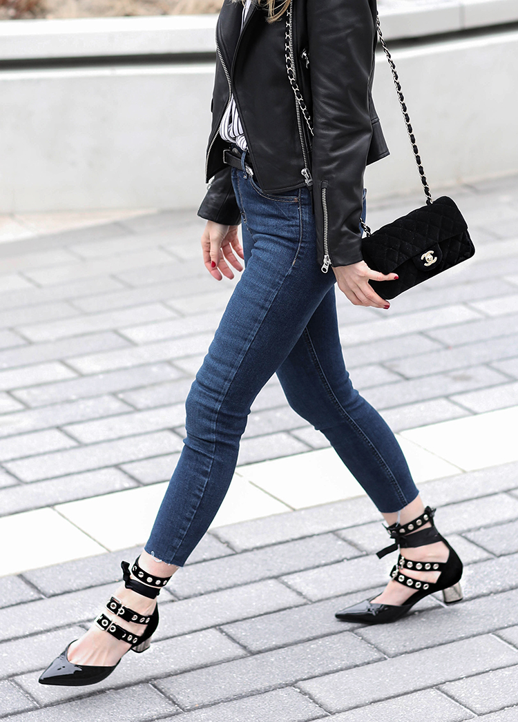 Helena of Brooklyn Blonde wearing Robert Clergie Self Portrait Ankle Strap Pumps with leather jacket and Chanel bag
