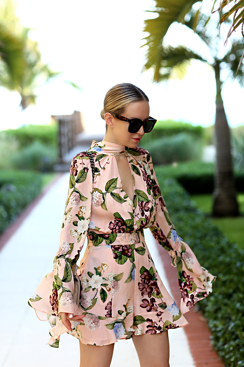 Brooklyn Blonde wearing Nicholas Evie floral romper, Vacation Outfit Ideas, Turks & Caicos, What to wear to the beach
