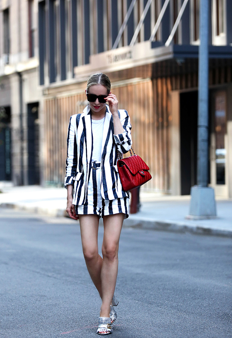 Linen Short Suit by Frame, Silver Gucci Mules, Red Chanel bag - Helena Glazer of Brooklyn Blonde