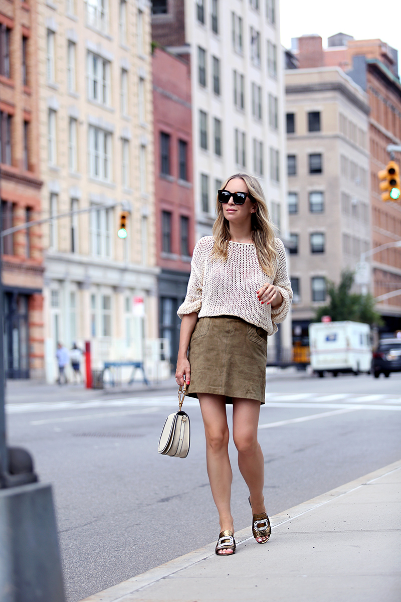 Comfortable stylish shoes - Helena of Brooklyn Blonde wearing Zara knit sweater, Maje Skirt, Roger Vivier x My Theresa shoes, Chloe Nile bag