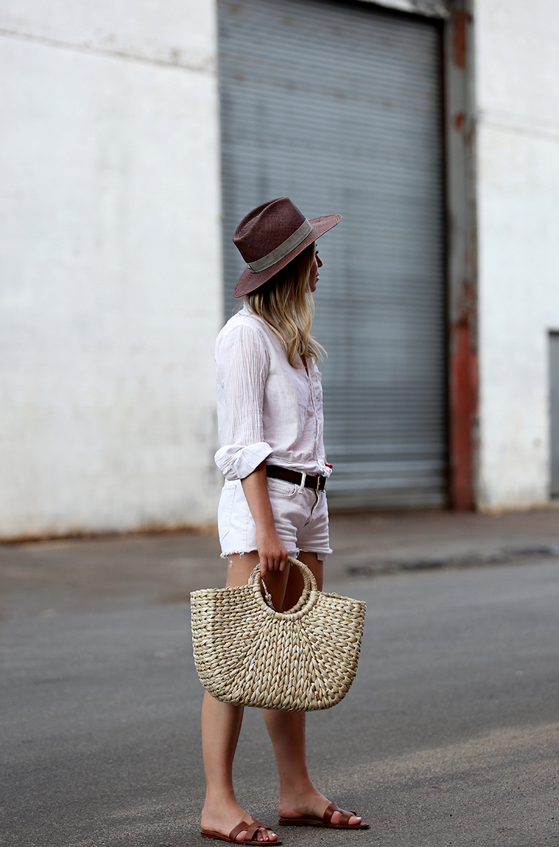 Summer whites, Monochromatic look, Helena of Brooklyn Blonde wearing Sanctuary button up, Current/Elliott denim, Hat Attack Basket Bag, Janessa Leone Hat, Hermes Oran slides